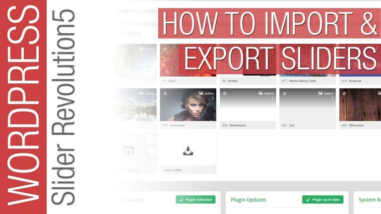 How To Import & Export Slider Revolution 5 Sliders